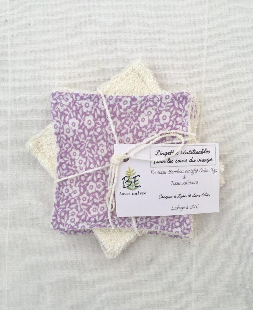 Carrés démaquillants lavables lot de 5 violet petites fleurs blanches