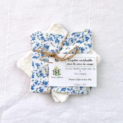Carrés démaquillants lavables lot de 5 cachemire fleurs bleues