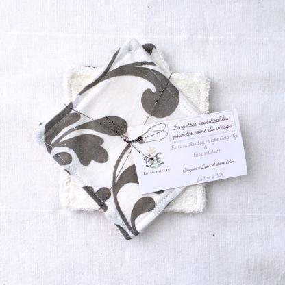 5 carrés démaquillants lavables Cachemire blanc