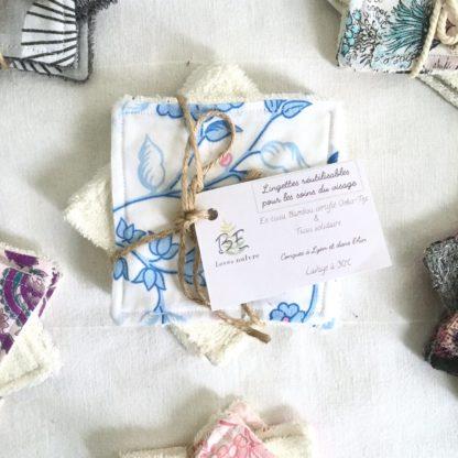 Carrés démaquillants lavables lot de 10 Fleurs bleues