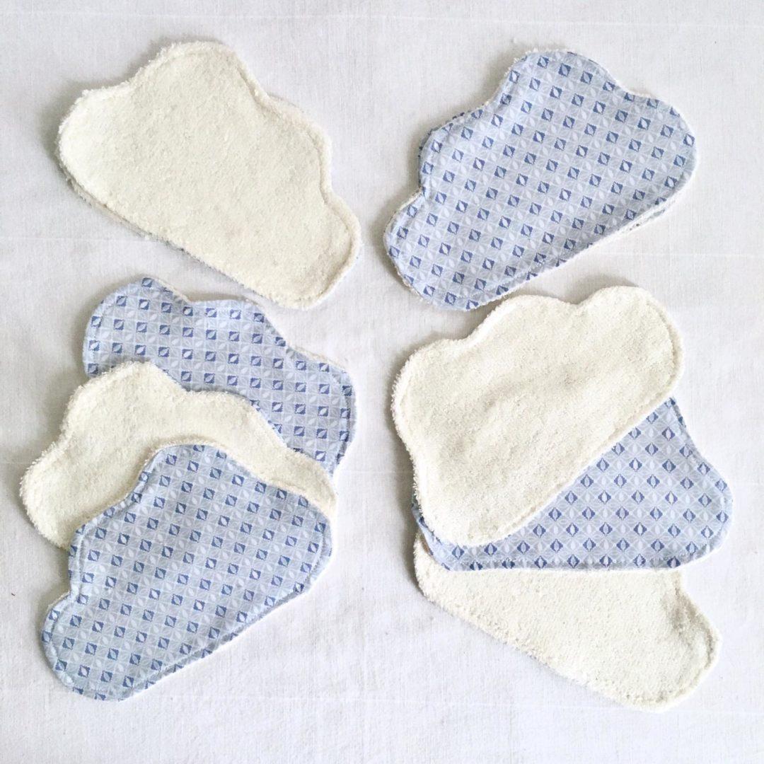 Lingettes lavables bébé nuage - lot de 10 Bleu