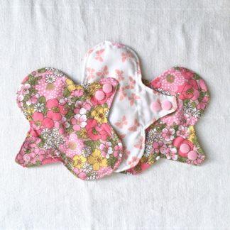 lot de 3 Protège-slip lavables Fleuris et papillons