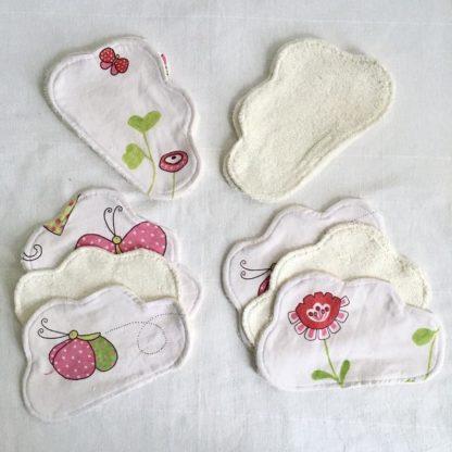 Lingettes lavables bébé nuage lot de 10 Blanc motifs rosés