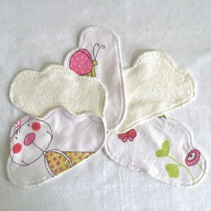 5 Lingettes lavables bébé nuage motifs blancs et roses