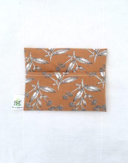 pochette à savon portefeuille Moutarde et fleurs