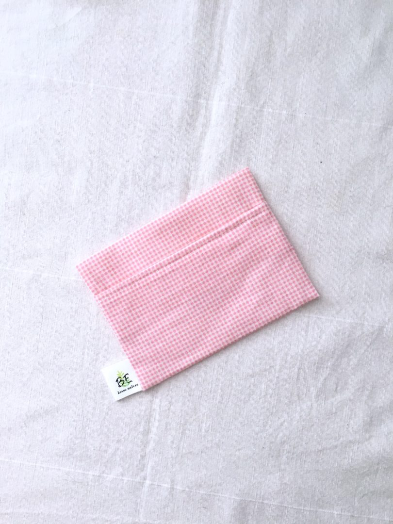 pochette à savon portefeuille Vichy rose