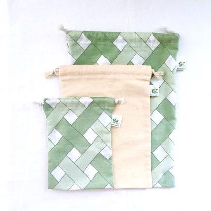 sac à vrac M bambou vert lot de 3
