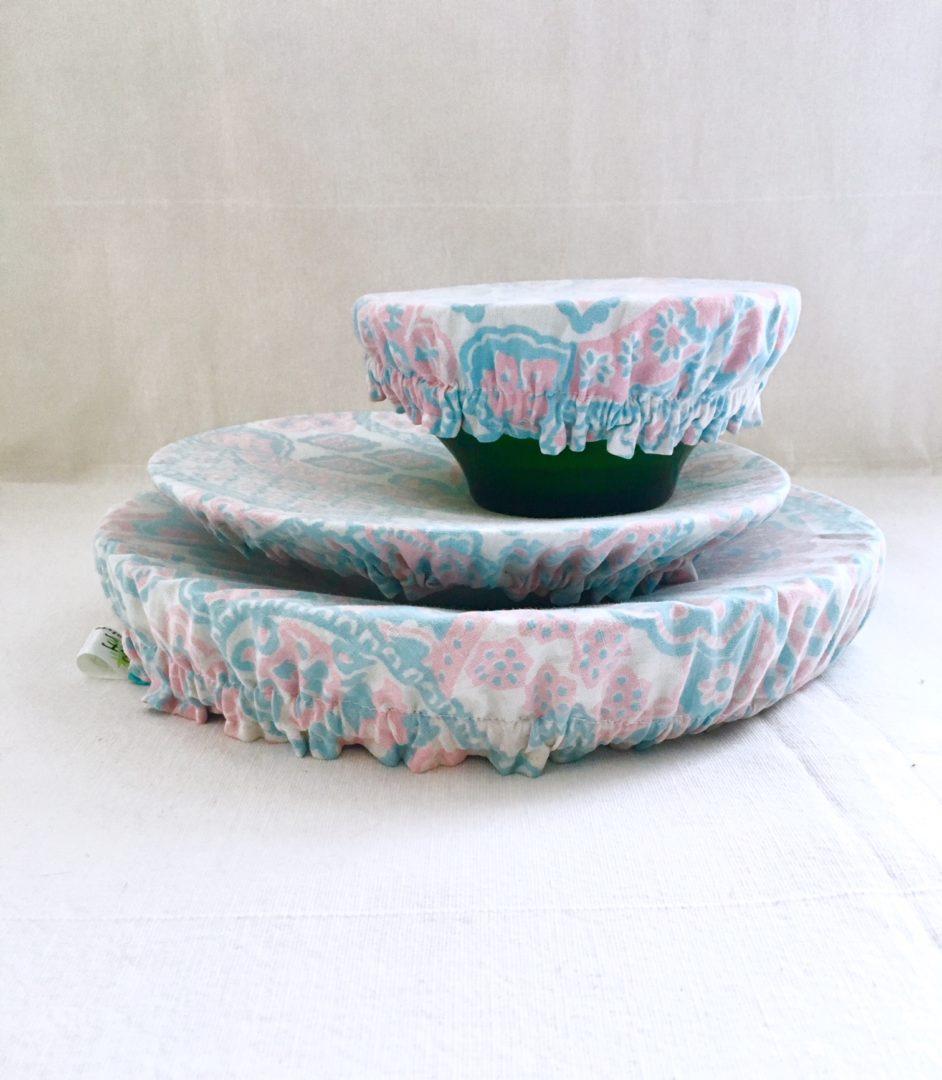 Charlottes à plats réutilisables cachemire rose & bleu