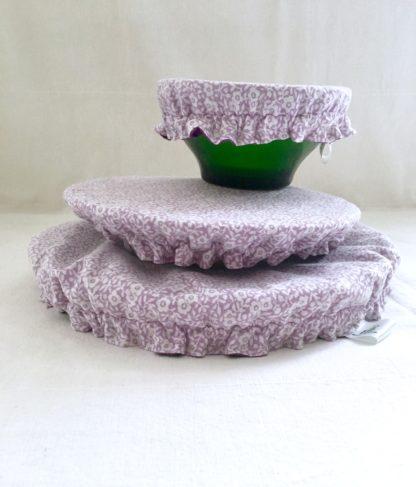 Charlottes à plats réutilisables violet petites fleurs
