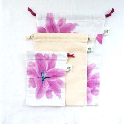 Sac à vrac M Fleur violette lot de 3