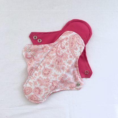 Serviette hygiénique lavable 2 gouttes Cachemire rose