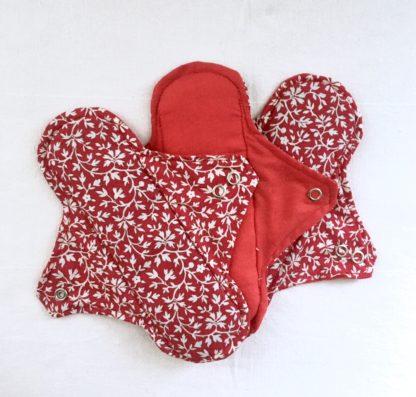 Serviette hygiénique lavable 2 gouttes rouge à fleurs - lot de 3