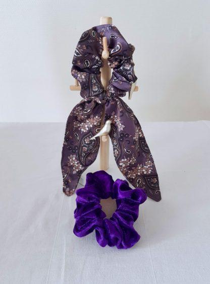 Kit chouchou foulchie Cachemire violet